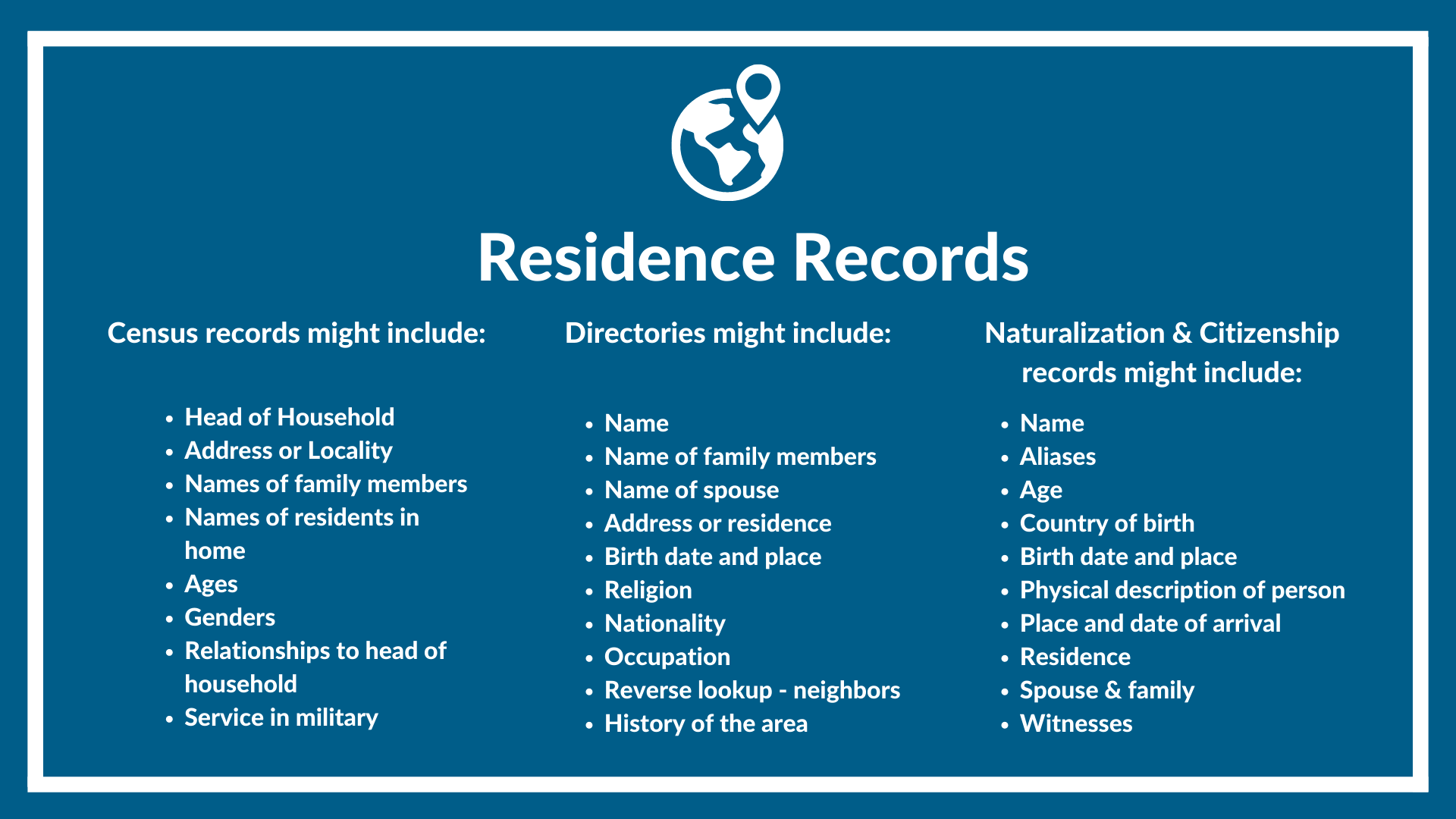 Residence records and what they might include