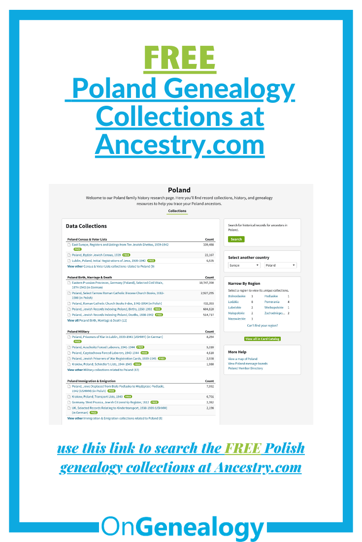 FREE Poland Genealogy Collections at Ancestry.com listed at OnGenealogy