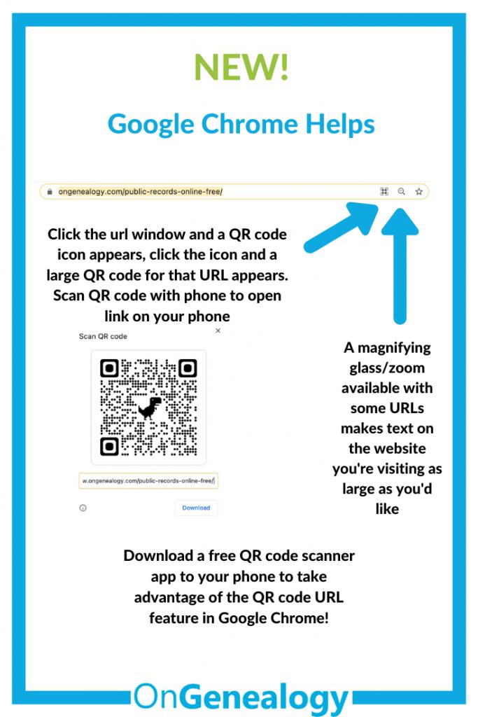 QR code scanner in Google Chrome url window, also a zoom feature in Google Chrome url window or address bar